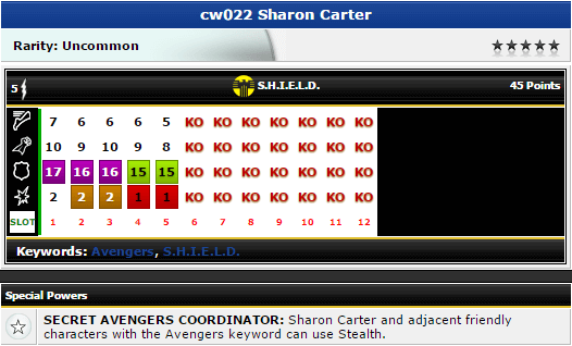 Sharon Carter - cw022 - Marvel Chaos War - HeroClix